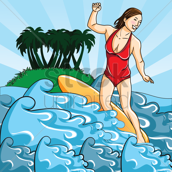 woman surfing vector graphic