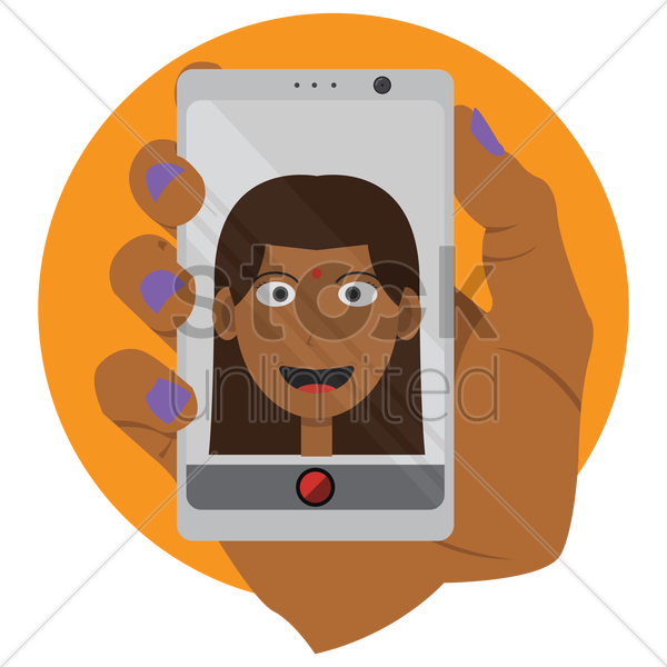 woman taking a selfie vector graphic