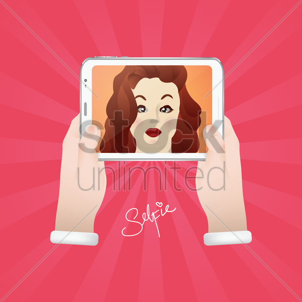 woman taking selfie vector graphic