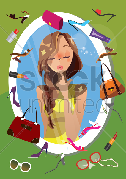 woman thinking about accessories in front of a mirror vector graphic