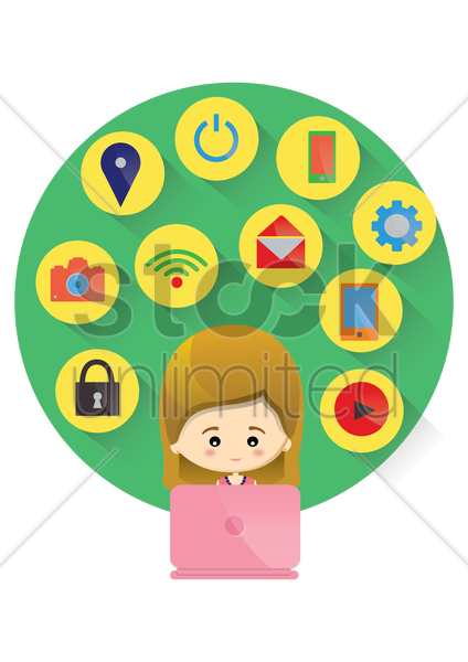 woman using technology icons vector graphic