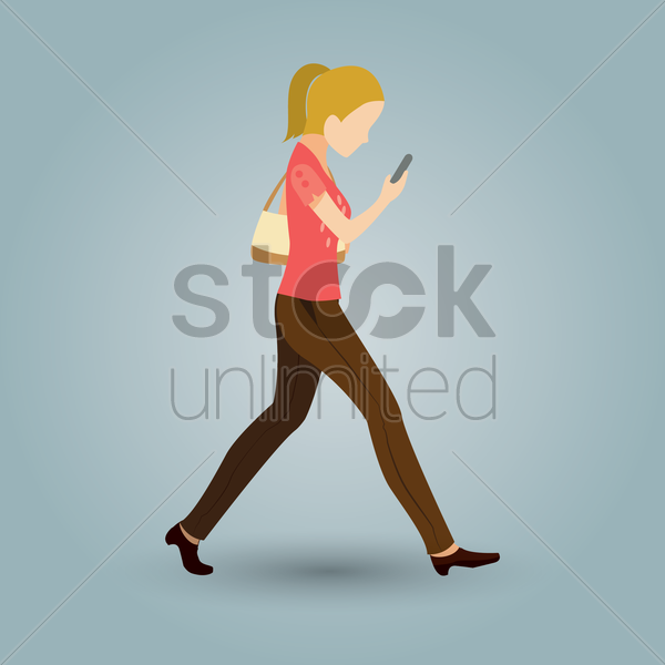 woman walking and looking at phone vector graphic