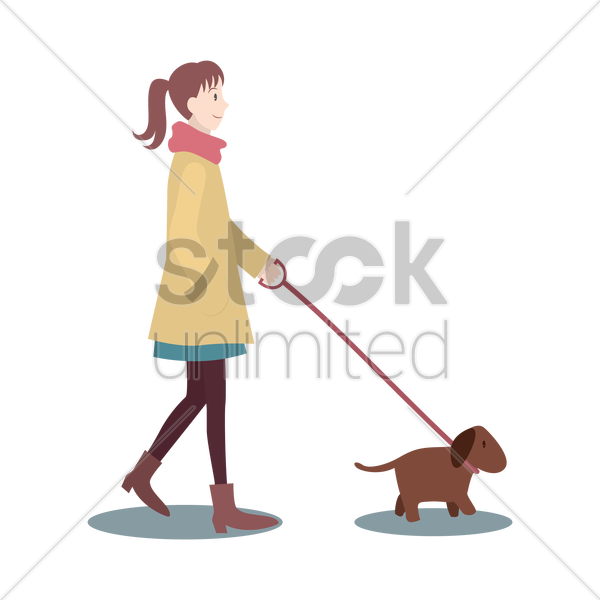 woman walking with dog vector graphic