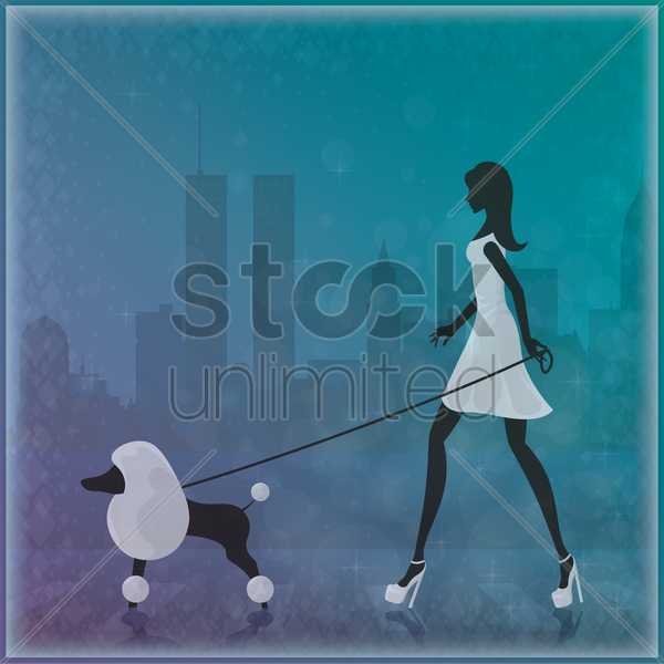 woman walking with her dog vector graphic