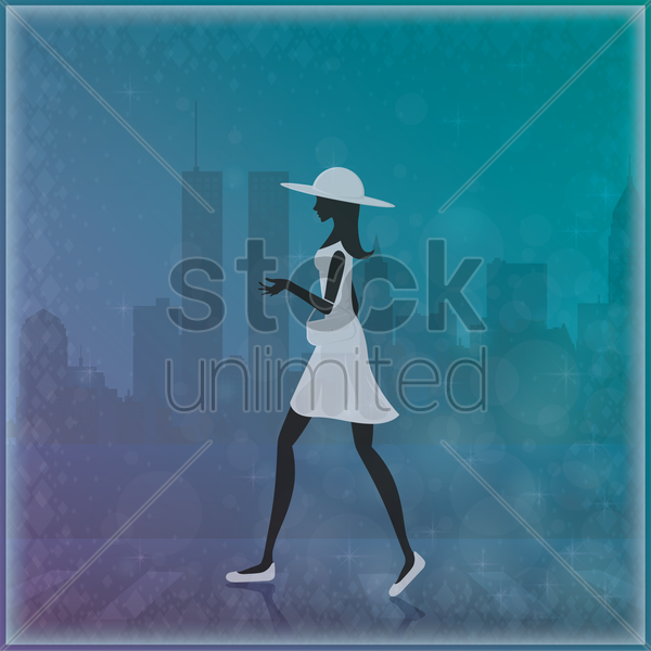 woman walking vector graphic