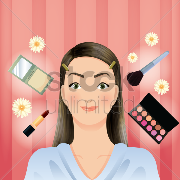 woman with beauty cosmetics vector graphic