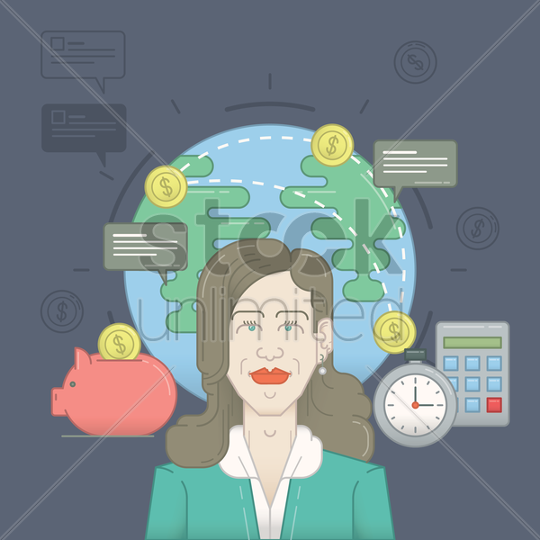 woman with business concept vector graphic