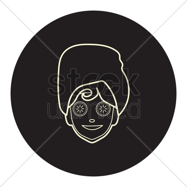 woman with cucumber slice on eyes vector graphic