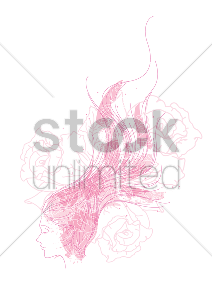 woman with flower design vector graphic