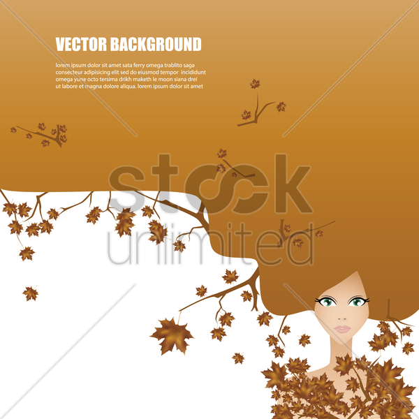 woman with long hair vector graphic
