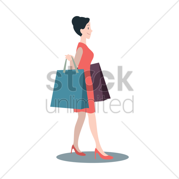 woman with shopping bags vector graphic