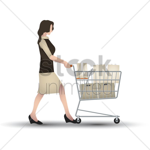 woman with shopping trolley vector graphic