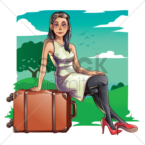woman with travelling bag vector graphic