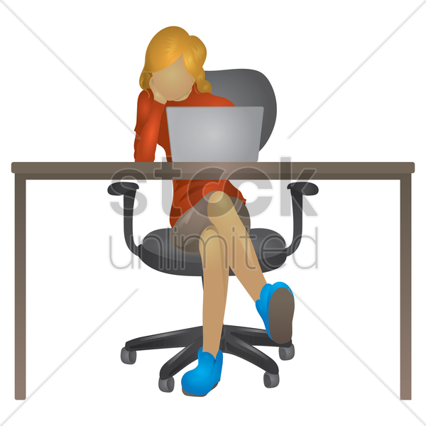woman working on laptop vector graphic