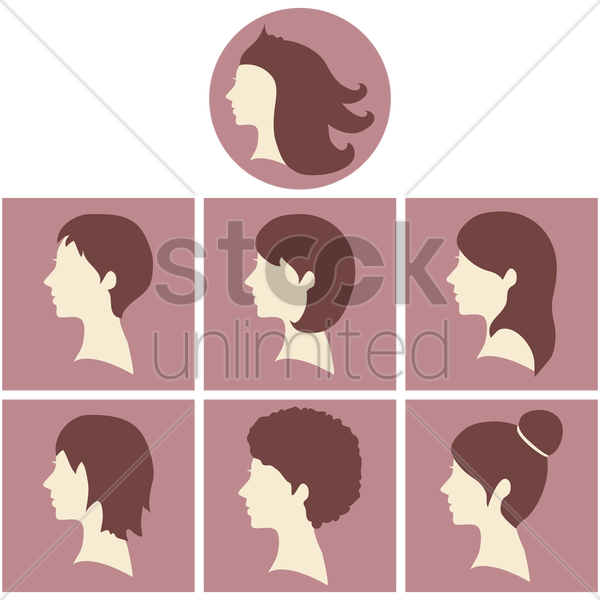 women hairstyles vector graphic