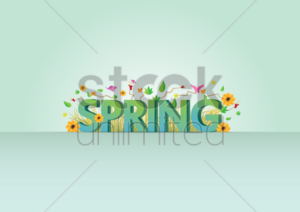 word spring with floral design vector graphic