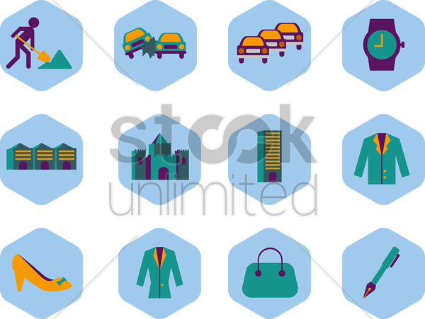 work lifestyle collection sets vector graphic