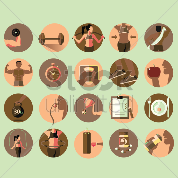 work out equipments vector graphic