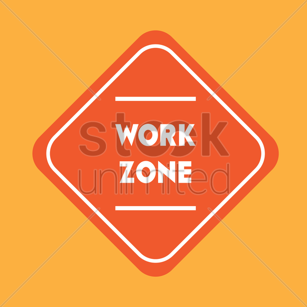 work zone road sign vector graphic