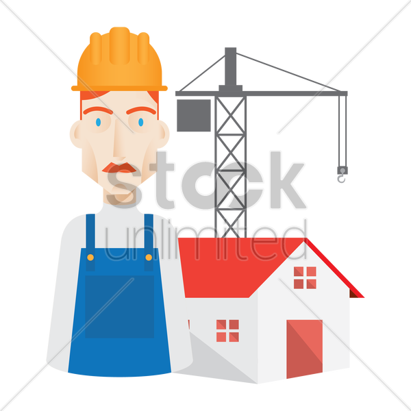 worker and construction site vector graphic