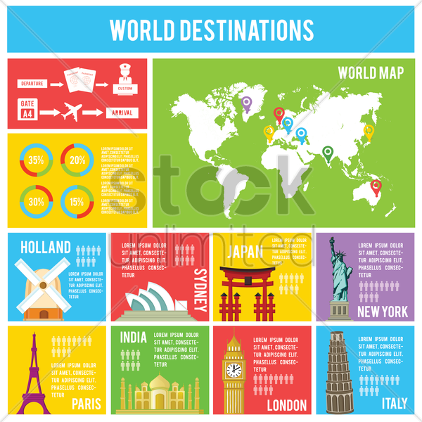 world destinations infographic vector graphic