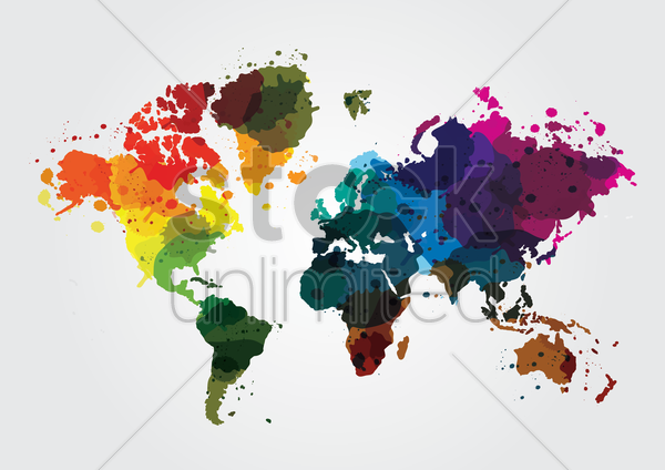 world map with colorful colors vector graphic