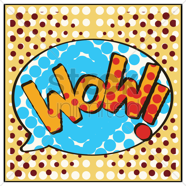 wow comic speech bubble vector graphic