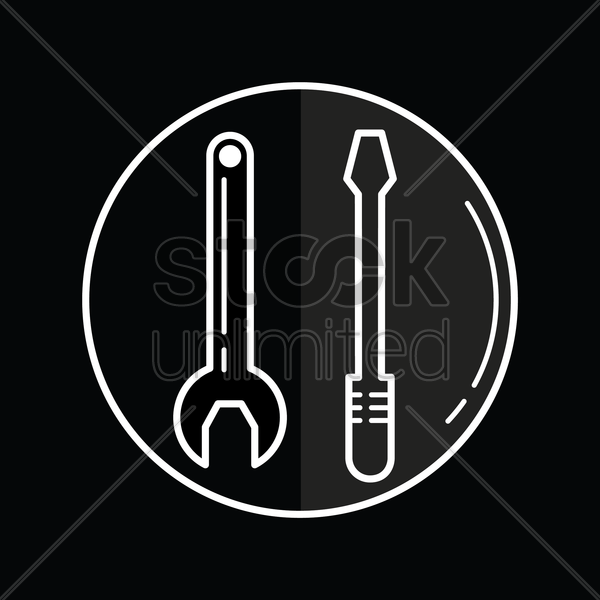 wrench and screwdriver icon vector graphic