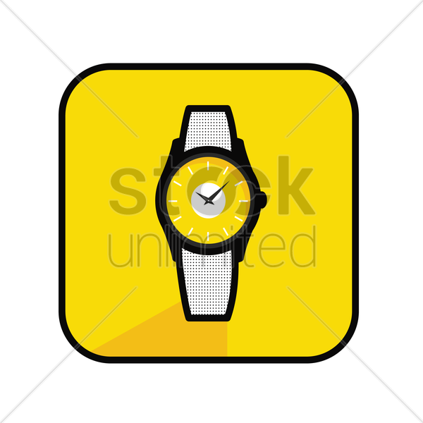 Free wrist watch on yellow background vector graphic