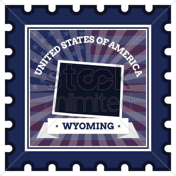wyoming postage stamp vector graphic