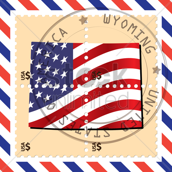 wyoming stamp vector graphic