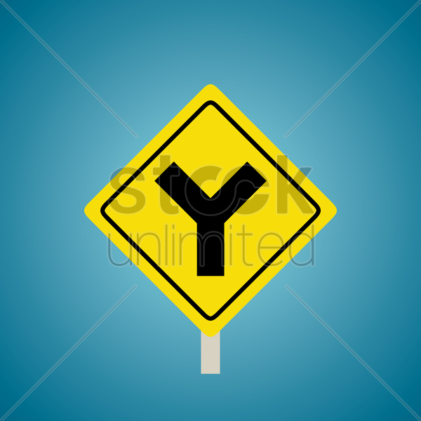 y roads sign vector graphic