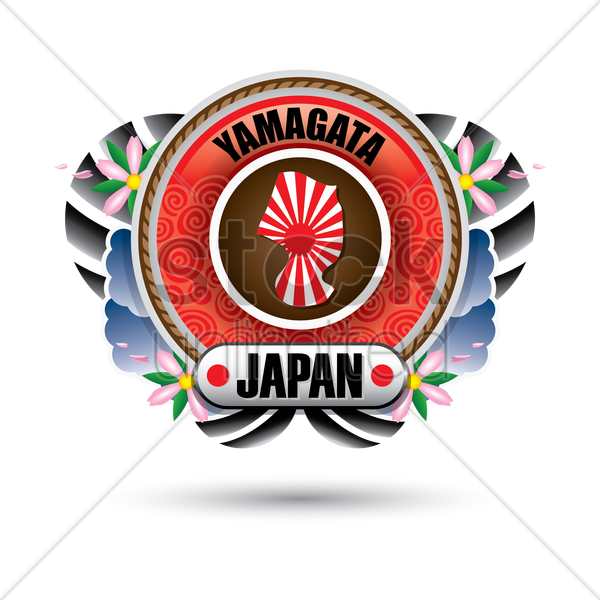 yamagata map sticker vector graphic