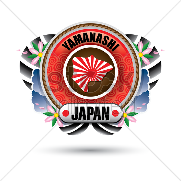 yamanashi map sticker vector graphic