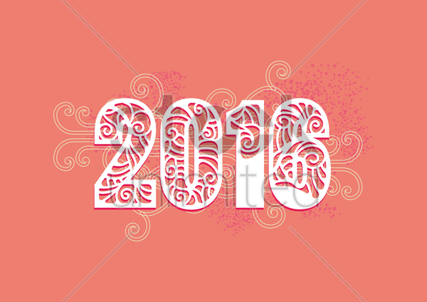 year 2016 vector graphic