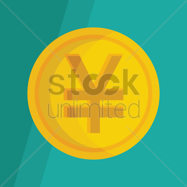 Free yen coin vector graphic