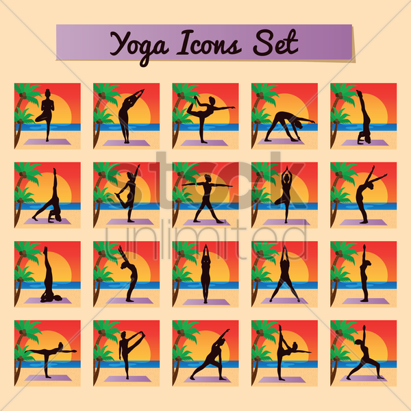 yoga icon set vector graphic