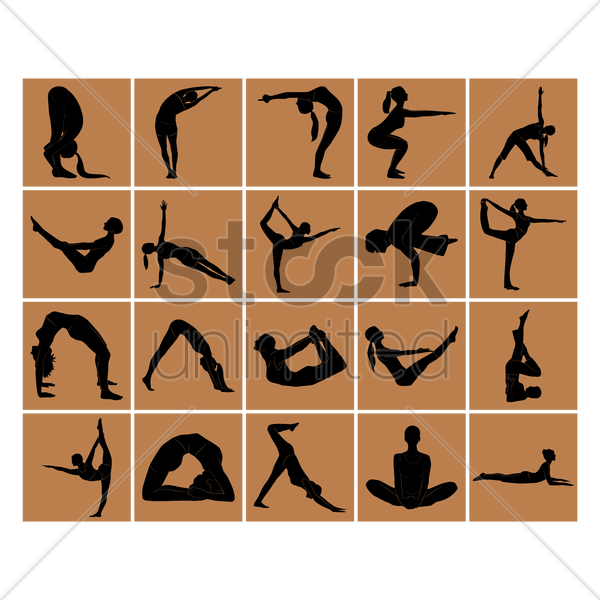 yoga poses vector graphic