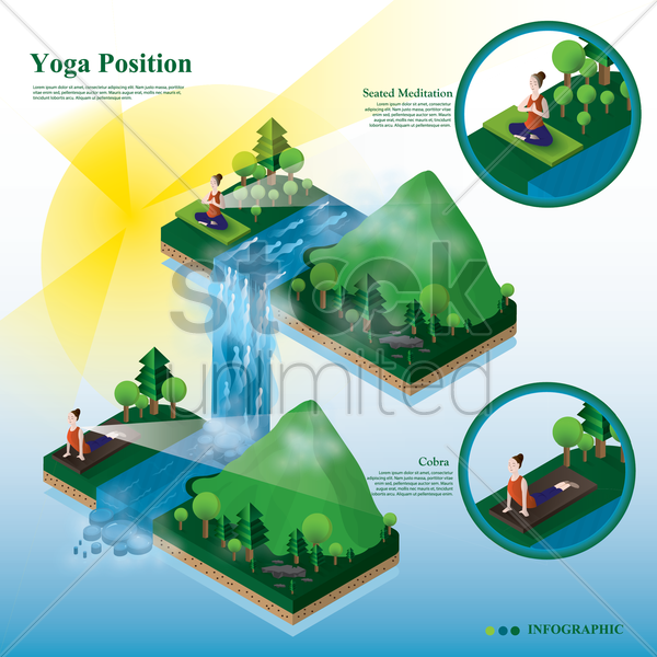 yoga position infographic vector graphic