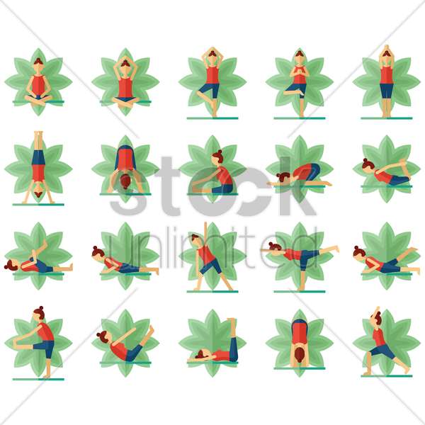 yoga postures collection vector graphic