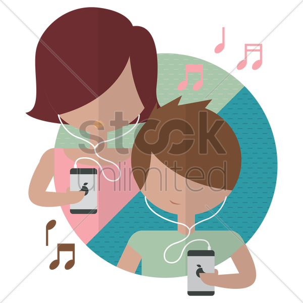 young girl and boy listening to music vector graphic