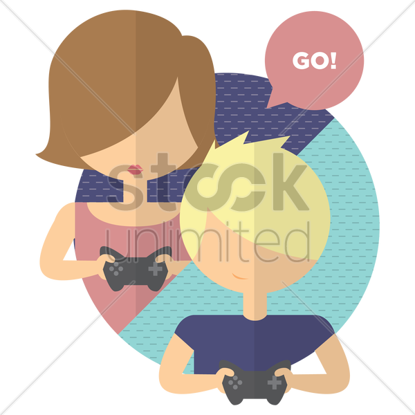 young girl and boy playing video game vector graphic