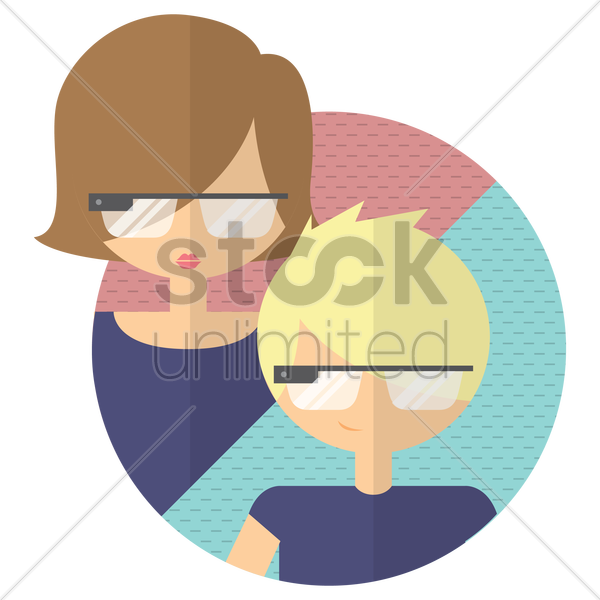 Free young girl and boy wearing goggle glass vector graphic