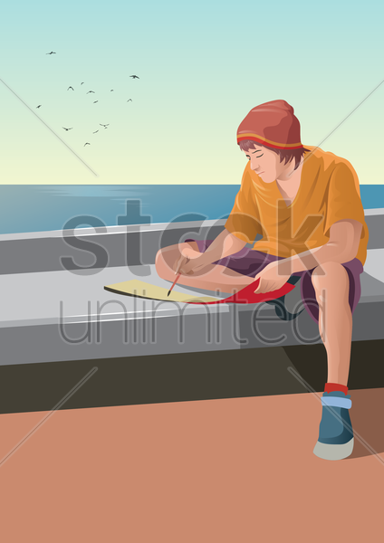 young man doing painting vector graphic