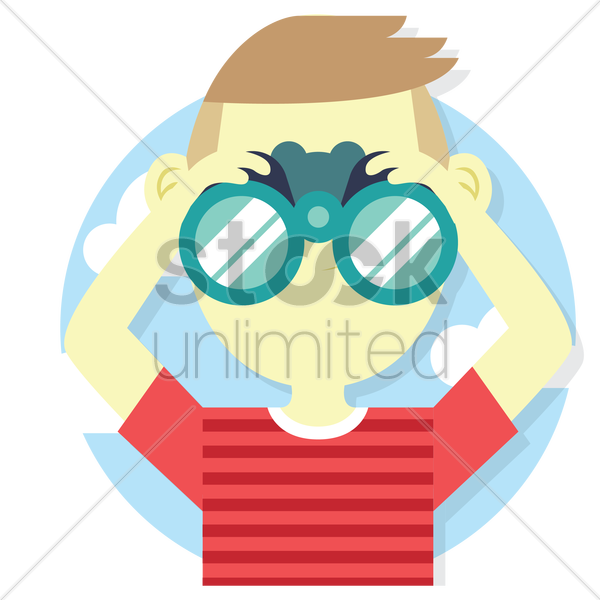 young man holding binocular vector graphic