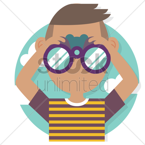 Free young man holding binocular vector graphic