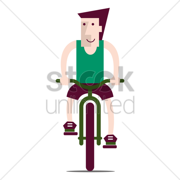 young man riding bicycle vector graphic