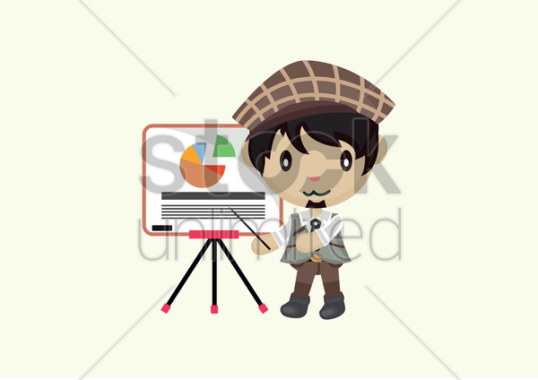 young man showing pie chart on a board vector graphic