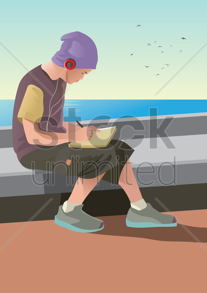 young man writing on book vector graphic