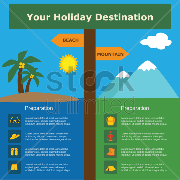 Free your holiday destination template vector graphic